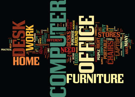 THE COMPUTER DESKS OF THE FUTURE Text Background Word Cloud Concept