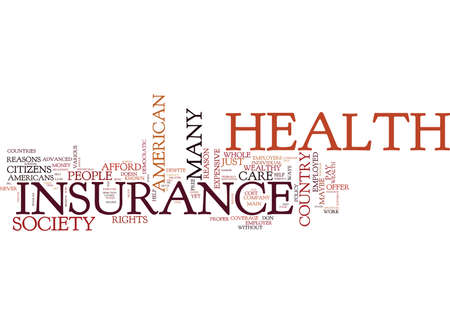 THE COST OF HEALTH INSURANCE FOR AMERICA S SOCIETY Text Background Word Cloud Concept