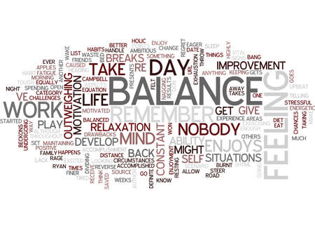 THE BALANCE OF BALANCE Text Background Word Cloud Concept Illusztráció