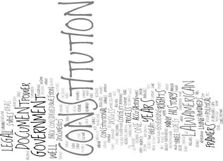 THE CORNERSTONE OF AMERICAN LAW Text Background Word Cloud Concept