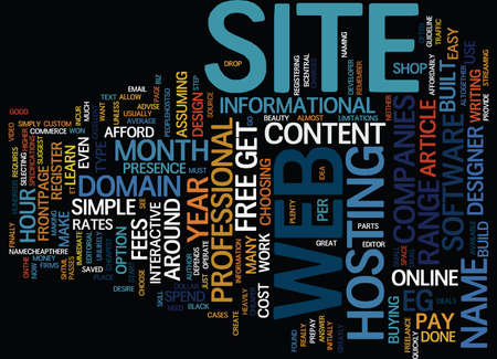 THE COST OF A WEB SITE Text Background Word Cloud Concept Banco de Imagens - 82658352