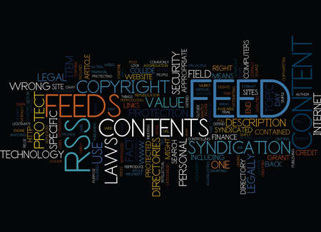 THE COPYRIGHT DEBATE AND RSS Text Background Word Cloud Concept Çizim