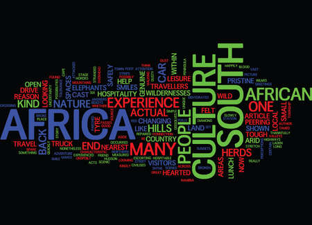 THE CAST OF CULTURE IN SOUTH AFRICA Text Background Word Cloud Concept
