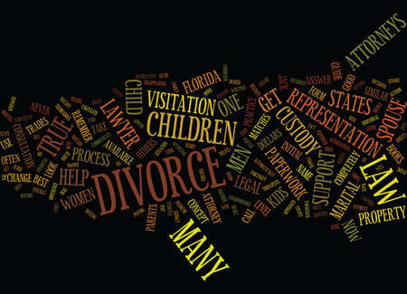 screwed: THE COMMON MYTHS OF DIVORCE Text Background Word Cloud Concept Illustration