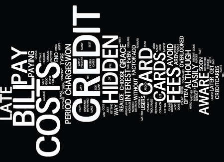 THE COST OF CREDIT CARDS Text Background Word Cloud Concept