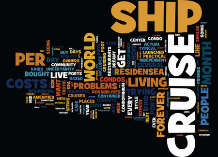 YOU TOO CAN LIVE ON A CRUISE SHIP Text Background Word Cloud Concept 向量圖像