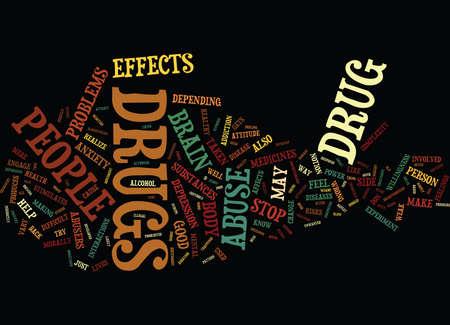 DE COMPLEXITEIT VAN DRUG-MISBRUIK Tekstachtergrond Word Cloud Concept