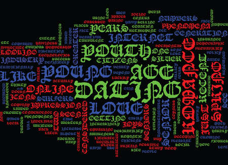 YOUNG LOVE Text Background word cloud concept Illustration