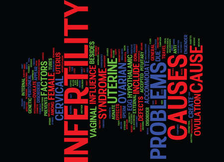 glutamate: THE CAUSE OF INFERTILITY BY NGUANG NGUEK FLUEK Text Background word cloud concept Illustration