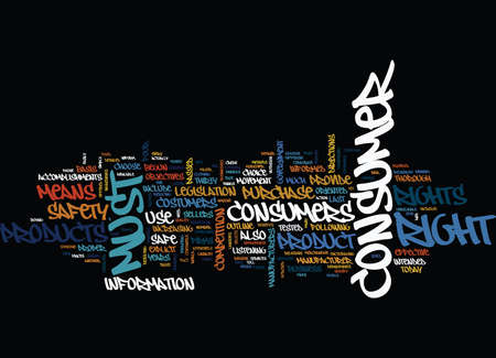 THE CONSUMER RIGHTS Text Background word cloud concept Illustration