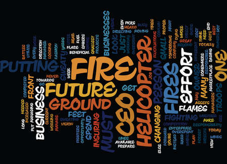 THE CEO IS FEET ABOVE THE FIRE Text Background word cloud concept