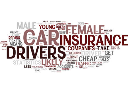 YOUNG FEMALE CHEAP CAR INSURANCE Text Background Word Cloud Concept Illusztráció