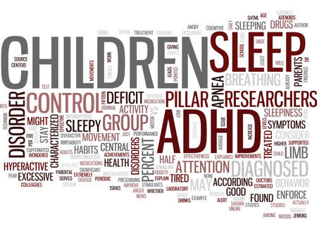 YOUR ADHD CHILD MAY JUST BE TIRED Text Background Word Cloud Concept