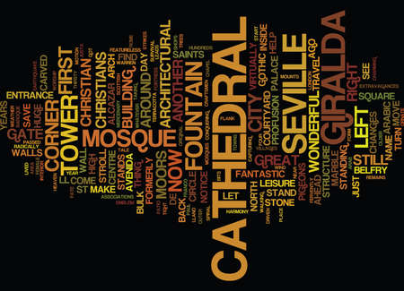 THE CATHEDRAL OF SEVILLE Text Background Word Cloud Concept