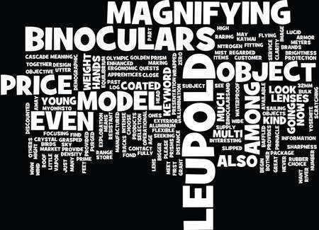 LEUPOLD BINOCULARS Text Background Word Cloud Concept