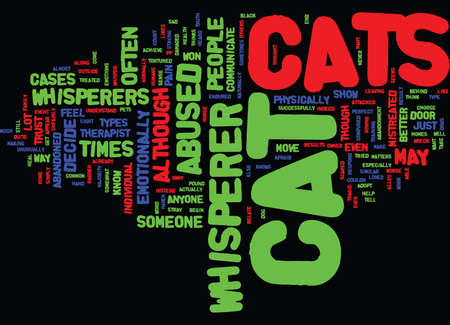 THE CAT WHISPERER Text Background Word Cloud Concept Illustration