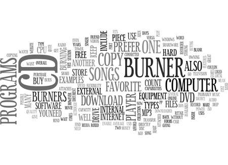 THE CD BURNER Text Background Word Cloud Concept