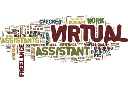 THE CONCEPT OF VIRTUAL ASSISTANCE Text Background Word Cloud Concept