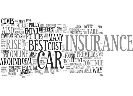 THE COST OF CAR INSURANCE IS SET TO RISE AGAIN Text Background Word Cloud Concept Illustration