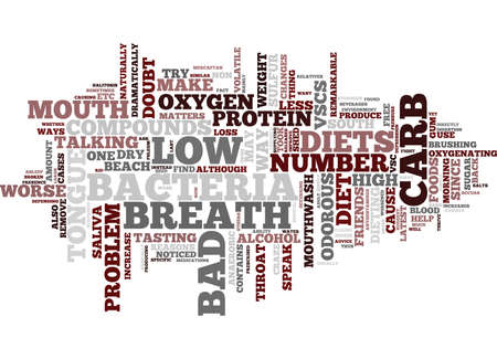 THE CAUSE OF BAD BREATH ON LOW CARB DIETS Text Background Word Cloud Concept