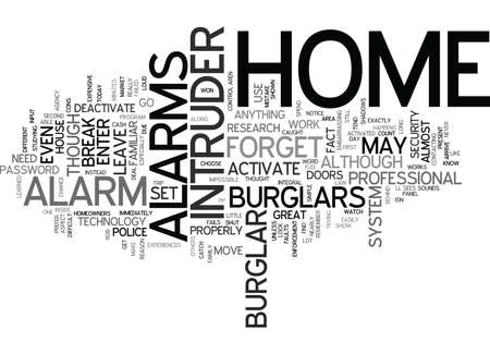 THE CONS OF HOME INTRUDER ALARMS Text Background Word Cloud Concept