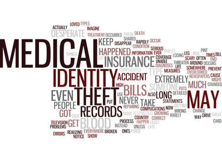 MEDICAL IDENTITY THEFT Text Background Word Cloud Concept Ilustração