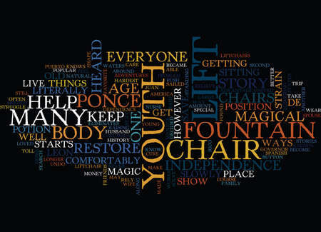 LIFT CHAIRS AND THE FOUNTAIN OF YOUTH Text Background Word Cloud Concept