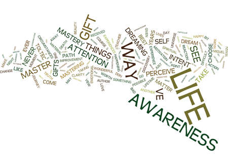MASTERY OF AWARENESS Text Background Word Cloud Concept Çizim