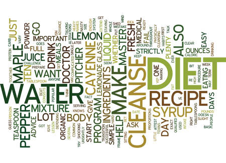 MASTER CLEANSE DIET RECIPE KEEP IT SIMPLE Text Background Word Cloud Concept