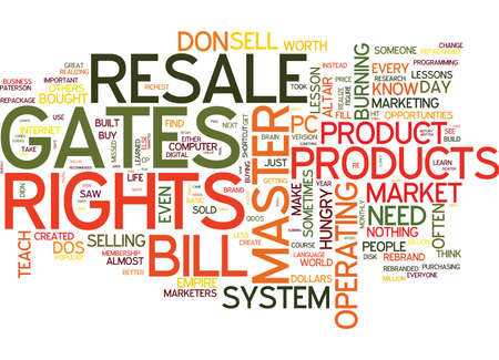 MASTER RESALE RIGHTS LESSONS BILL GATES COULD TEACH YOU Text Background Word Cloud Concept