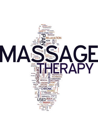 MASSAGETHERAPIE Tekst Achtergrondword Wolkenconcept