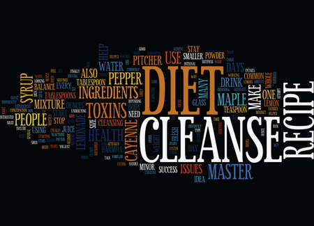 MASTER CLEANSE DIET RECIPE RECIPE TO SUCCESS Text Background Word Cloud Concept Illustration