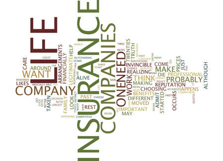 LIFE INSURANCE COMPANIES WHERE TO START Text Background Word Cloud Concept Illustration