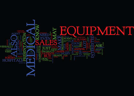 MEDICAL EQUIPMENT SALES CAREER Text Background Word Cloud Concept 向量圖像
