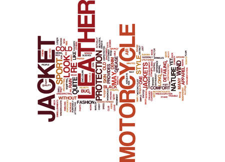 LEER MOTORCYCLE JACKET Tekst Achtergrond Word Cloud Concept