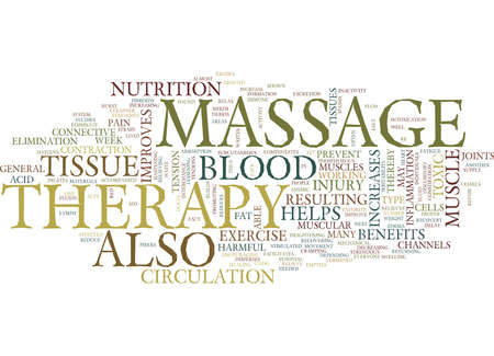 MASSAGE THERAPY BENEFITS Text Background Word Cloud Concept Vettoriali