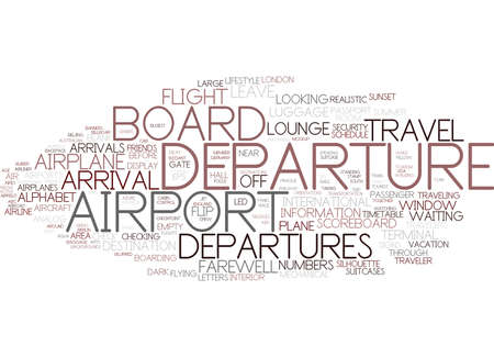 departures word cloud concept Illustration