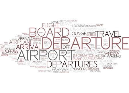 departures word cloud concept Illustration