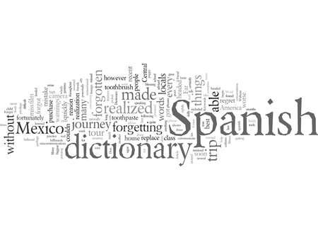 Vergeet geen Spaans woordenboek Vector Illustratie