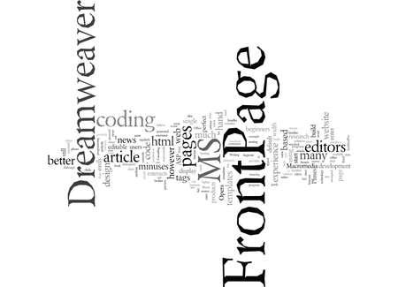 Dreamweaver FrontPage typographie texte art illustration vectorielle