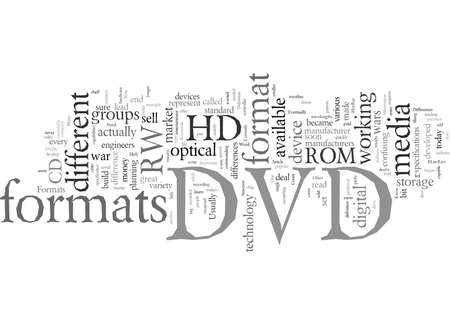 Dvd Formats Differences typography text art vector illustration Ilustrace