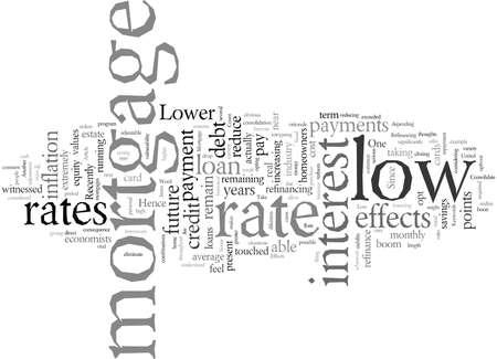 Auswirkungen der Typografie-Textkunst-Vektorillustration des niedrigen Hypothekenzinssatzes