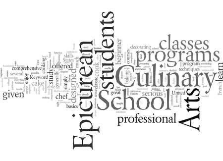 École épicurienne des arts culinaires, art de texte de typographie d'illustration vectorielle Vecteurs