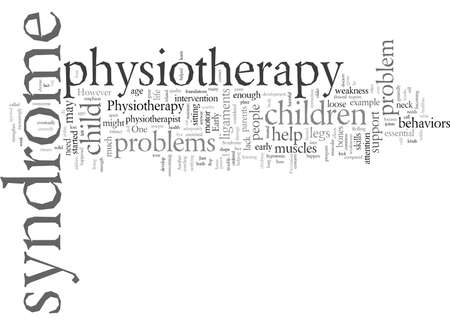 down syndrome physiotherapy, vector illustration typography text art Foto de archivo - 132443231