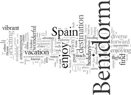 Enjoy A Fabulous Holiday In Benidorm Spain, vector illustration typography text art 向量圖像