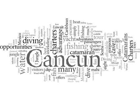 Cancun Catamaran, vector illustration typography text art