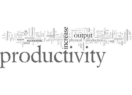Economics And Productivity, vector illustration typography text art