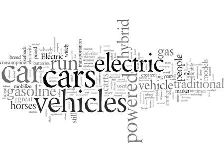 electric hybrid vehicles, typography text art vector illustration