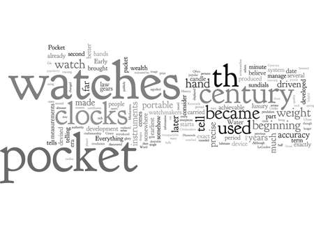 A Brief History Of Pocket Watches typography text art vector illustration