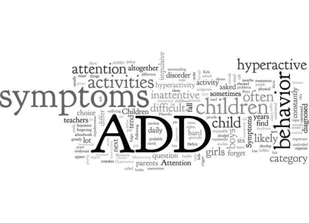 ADD Symptoms In Children And Hyperactive Impulsive Symptoms  イラスト・ベクター素材